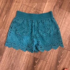 Lace blue shorts size small